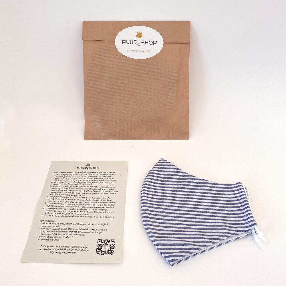 Duurzaam verpakt PUUR.SHOP biologisch mondkapje Blue Stripes met gebruiksaanwijzing
