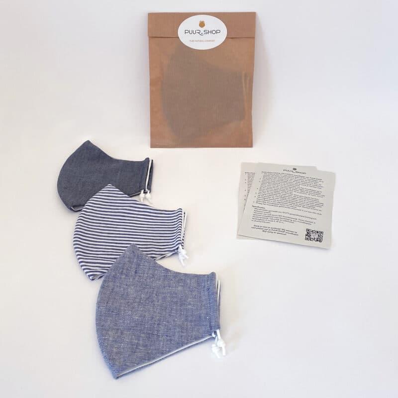 Verpakking PUUR.SHOP 3-PACK biologische mondkapjes Grey Hemp Stripes