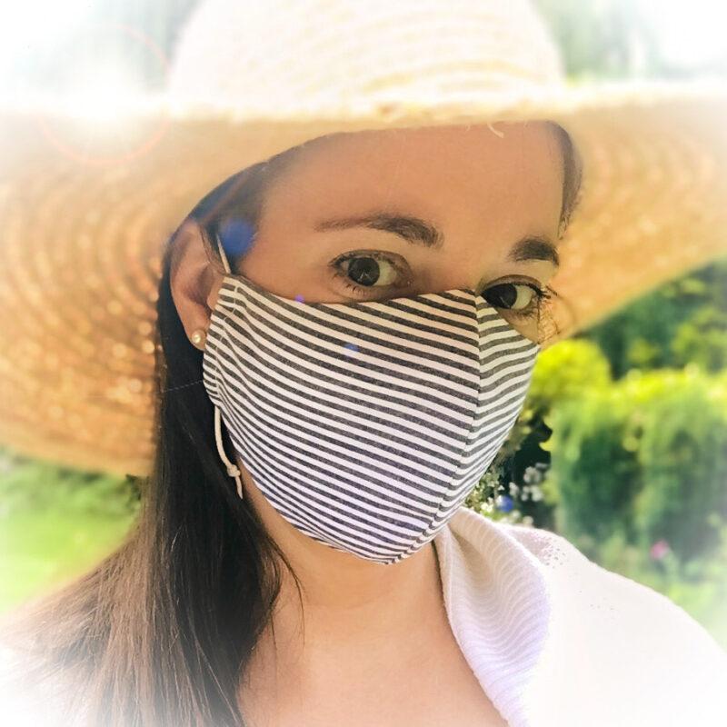 organic face mask PUUR.SHOP blue stripes