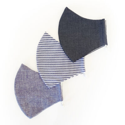 PUUR.SHOP 3-PACK biologische mondkapjes Grey Hemp Stripes