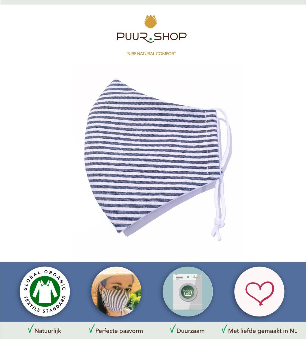 Eigenschappen PUUR.SHOP biologisch mondkapje Blue Stripes